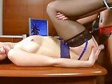 Lesbian babes strapon anal